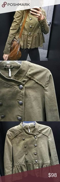 Free People Military Peplum Jacket -Make an Offer! EUC  Pit to Pit buttoned 18.5 inches Sleeve length 18 inches from under pit Length 23 inches Free People Jackets & Coats