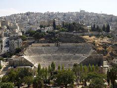 Ancient Roman theatre, Amman, Jordan | In the middle of Amman, the jordan capital, the roman theatre. Completed in 177 AD under Marcus Aurelius, it is the largest Roman theatre in Jordan ......