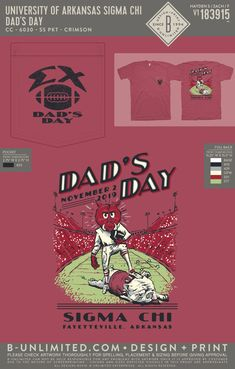 University of Arkansas Sigma Chi Dad's Day Shirt | Fraternity Event | Greek Event #sigmachi #machi #sx #uofa #razorbacks Sigma Chi, University Of Arkansas, Dad Day, Greek Clothing, Fraternity, Dads, Shirts, Greek Outfits, Fathers
