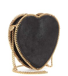 STELLA MCCARTNEY | Faux Black Leather Heart Shaped Shoulder Bag