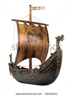 Antique Viking Ship Model isolated on white by Danny Smythe, via ShutterStock