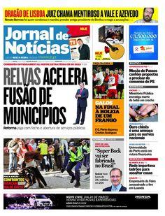 Capa do JN desta sexta-feira, dia 23 de março. Destaque para a reforma que prevê a fusão de municípios, os confrontos em dia de greve geral e o resultado do Gil Vicente - Sp. de Braga de ontem.
