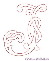 Celtic knot Monogram Alphabet - Letter J Embroidery Alphabet, Hand Embroidery Patterns, Cross Stitch Embroidery, Embroidery Monogram, Embroidery Art, Celtic Alphabet, Fancy Letters, Free Monogram, Monogram Alphabet
