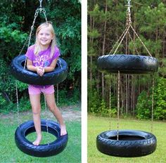Frontier Twister Tire Swing (two-tiered spinning swing) Kids Outdoor Play, Kids Play Area, Backyard For Kids, Outdoor Fun, Diy For Kids, Kids Yard, Play Yard, Tire Playground, Tire Swings