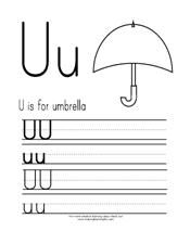 U is for Umbrella Printing Practice Page from Making Learning Fun.