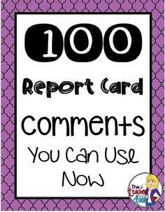When teachers talk about the joys of teaching, I'm pretty sure they aren't talking about report card writing.A practical post filled with 100 report card comments for a variety of situations. Includes a link to the PDF List Freebie! 2nd Grade Classroom, Kindergarten Classroom, School Classroom, Classroom Ideas, Kindergarten Report Cards, Kindergarten Worksheets, Future Classroom, Teacher Organization, Teacher Tools