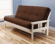 Montreal Futon Set Antique White Frame w Suede Microfiber Mattress 8 Inch Innerspring Sofa Bed Full Size Frame  Chocolate Mattress -- Check this awesome product by going to the link at the image.