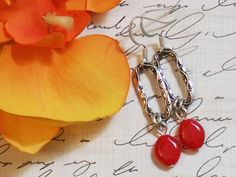 SOLD!! Red and Silver Beaded Dangle Earrings by Jules by JulesJewelryBox, $14.00