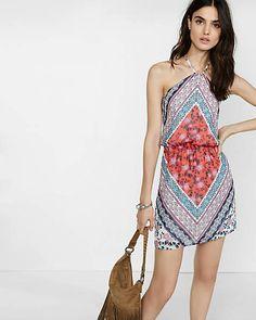 floral tapestry print chiffon halter dress