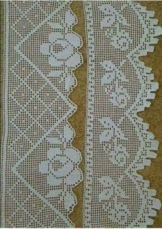 This Pin was discovered by Gül Crochet Boarders, Crochet Edging Patterns, Crochet Lace Edging, Hand Crochet, Crochet Stitches, Knit Crochet, Filet Crochet, Russian Crochet, Crochet Dollies