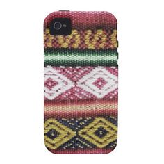 Vintage Colorful Pink Stripes Aztec Pattern Vibe iPhone 4 Cases