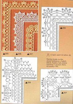 Crochet Edging And Borders lo spazio di lilla: Schemi di bordi crochet con angoli, utili per copertine e tovagliette / Crochet edges with corner useful for baby blankets and placemats, free patterns Crochet Boarders, Crochet Edging Patterns, Crochet Lace Edging, Crochet Motifs, Crochet Diagram, Crochet Chart, Thread Crochet, Crochet Designs, Crochet Doilies
