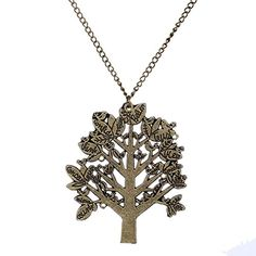 "Yazilind Vintage Pretty Bronze Lucky Tree Pendant Alloy Chain Long Necklace Women 28"" Yazilind"