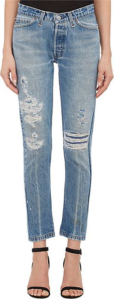 "Pictured are $340 ripped jeans from Barney's. Most may say these are unnecessary and much too expensive for what they are because of the holes in them, but stylists see it differently. For the Bourgeoisie clients, the label is so important to wear designer jeans. Fiske discusses how designer jeans and denim affect woman, ""wearing designer jeans is an act of distinction, of using a socially locatable accent to speak a common language"" (7). E.B."