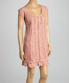 Love this Dusty Rose Crocheted Silk-Blend Dress by Purple Clover on #zulily! #zulilyfinds