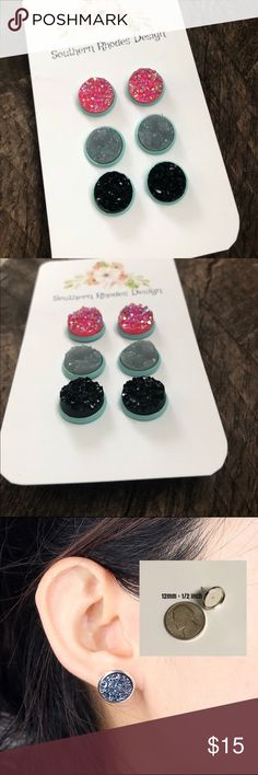 Pink, Gray, & Black Druzy Stud Earring Trio Set 💕12mm Funfetti Pink Druzy Stud Earrings In Mint 💕12mm Funfetti Gray Druzy Stud Earrings In Mint 💕12mm Black Druzy Stud Earrings In Mint          Lead/Nickel Free Settings with Rubber Backs   🎁Ships In a giftbox🎁 Jewelry Earrings