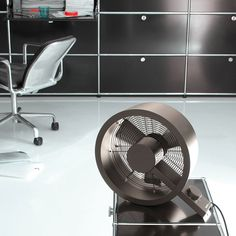 Q Fan Bronze Designed by Carlo Borer for Stadler Form, the origins of the Q Fan's name is instantly apparent at first glance. It features sleek, stainless steel curves-? Desk Fan, Noise Levels, Modern Lighting, Gadgets, Home Appliances, Bronze, Stainless Steel, House Design, Products