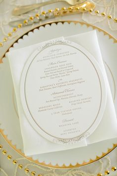 Elegant Menu   Place Settings   See the wedding on SMP: http://www.StyleMePretty.com/2013/08/20/private-estate-farm-wedding-from-brilliant-event-planning/  Daniel J Photography