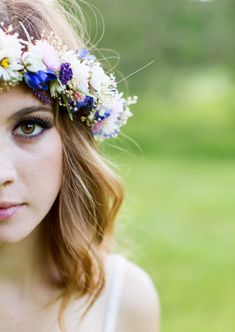 Dried Flower Wedding Headpiece Floral hair wreath by AmoreBride