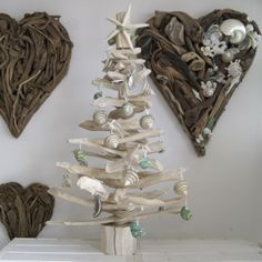 Our Bleached Driftwood Tree with a Coastal Theme http://www.dorisbrixham.co.uk/driftwood-trees.html