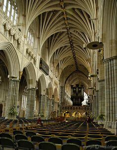 This photo from Devon, England is titled 'gothic vault'. Sacred Architecture, Historical Architecture, Beautiful Architecture, Exeter Cathedral, Cathedral Church, Cathedrals, Mosques, Exeter City, Ancient Buildings