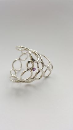 Unique silver circles ring with 2mm amethyst by AnJaJewellery on Etsy