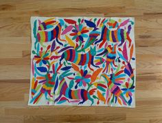 Mexican Otomi Textile  Colorful Tribal Embroidery by BYBEEVINTAGE
