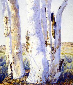 Rex Battarbee (Australian artist): Gum Trees in the Finke River 1946 Australian Painting, Australian Plants, Australian Bush, Australian Artists, Aboriginal Man, Aboriginal Artwork, River Palm, Australian Aboriginals, Drawing Trees
