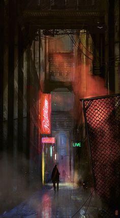 Cyberpunk, Neo Noir, Dark Future, The Art Of Animation, Markus Lovadina. Arte Cyberpunk, Cyberpunk City, Futuristic City, Cyberpunk 2077, Cyberpunk Fashion, Digital Foto, Neon Licht, Neon Noir, Poster Design