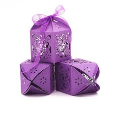 Tinksky Wedding Candy Boxes Love Heart Lase Cut Gift Favour Boxes with Ribbon Table Decorations (Purple) 50pcs >>> Click image to review more details.