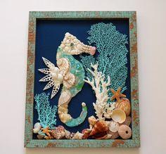 Seahorse Wall Decor Seahorse Shell Art Beach by TheSleepySeahorse                                                                                                                                                                                 More