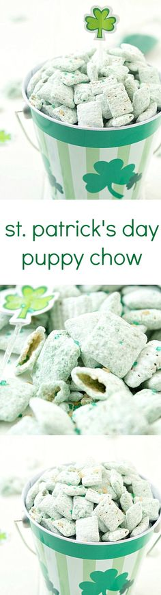 St. Patrick's Day Puppy Chow Recipe - The perfect green and minty snack! Beware, it's highly addictive and you will not be able to stop! St Patricks Day Food, Saint Patricks, St Patrick Day Snacks, St Patricks Day Snacks For School, St Patricks Day Deserts, Green Party Foods, Green Foods, Leprechaun, Chex Cereal