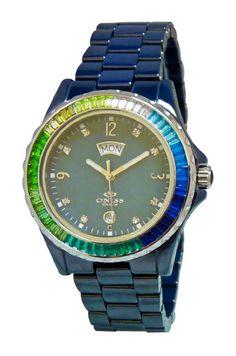 "Oniss Paris  Blue ""Princess Bello"" Rainbow Collection Ladies All Ceramic S/S Bezel Watch"