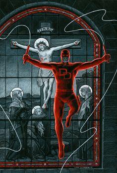 Daredevil Crucifixion - Black Board - SOLD, in Jean Scrocco's Greg Hildebrandt - For Sale Comic Art Gallery Room Daredevil Artwork, Daredevil Elektra, Comic Books Art, Comic Art, Book Art, Daredevil Matt Murdock, The Devil's Advocate, Comic Kunst, Marvel Comics Art
