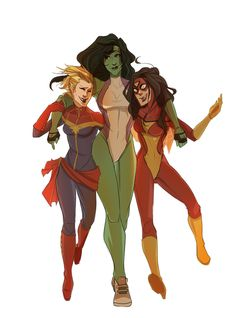 Avengers Ladies' Night - Captain Marvel, She-Hulk, Spiderwoman - somewhere a supervillain is weeping in terror.