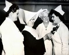 "Sister Stanislaus Malone, director of the sister's division of Charity Hospital School of Nursing, with nurses. I never met her but her book, ""The Nun with a Gun"" had a lot to do with my becoming a Daughter. Vintage Nurse, Vintage Medical, Daughters Of Charity, Male Nurse, Crescent City, School Pictures, Louisiana, New Orleans"