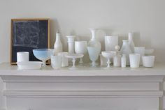 """/\ /\ . Tricia Foley . As a life long china collector, the designer and stylist has every shade of white china—matte and glazed, refined and rustic, antique and from Ikea—as well as a large collection of milk glass. """"I'm inspired by the subtle differences,"""" says Foley."""