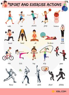 Sport and exercise actions vocabulary in english englisch vokabeln, englisc English Teaching Materials, Learning English For Kids, English Lessons For Kids, Kids English, English Language Learning, English Study, Teaching English, English English, English Class