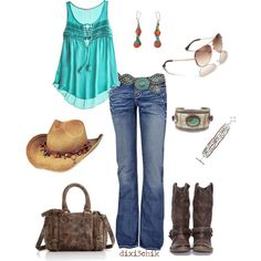 A fashion look from March 2012 featuring long length shirts, slim bootcut jeans and western style boots. Browse and shop related looks. Country Outfits, Country Girls, Country Style, Country Attire, Country Fashion, Country Wear, Country Life, Looks Style, Style Me