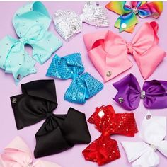 Here is a picture of JoJos complete Bow Collection that is being sold in Claires stores! You can buy them in stores of online now • #dancemoms1 #dancemoms #spoilers #dmos_siwa #jojosbowparty ✨JoJo liked✨