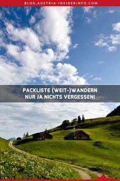 Eine Packliste gerade fürs Weitwandern kann schon sehr beruhigend wirken. Dieser Gedanke, ob man nicht doch etwas Wichtiges vergessen hat, spukt dann nicht mehr im Kopf herum. Klar, notfalls könnte man in der Regel vergessene Dinge auch unterwegs kaufen, wenn man etwas unverzichtbares Zuhause liegen gelassen hat. Aber eben nicht alles und auch nicht an jedem Ort. Austria, Travel, Outdoor, Europe, Hiking Trails, Left Out, Outdoors, Viajes, Destinations