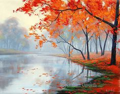 AUTUMN OIL PAINTING lake Wall Decal van GerckenGallery op Etsy
