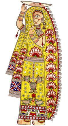 From a wall painting by Mithila painter, Ganga Devi. Indian Artwork, Indian Folk Art, Indian Art Paintings, Dream Painting, Mural Painting, Naive, Art Populaire, Madhubani Art, Madhubani Painting