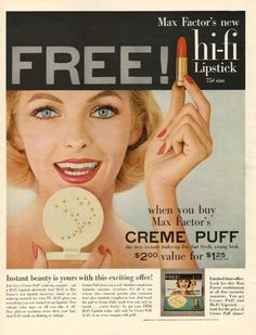 And you thought HD makeup was new...Max Factor's new Hi-Fi Lipstick, 1957.