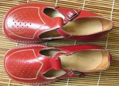 NOS 1940s 1950s vintage kids children shoes red by FromEveWithLove, $15.00