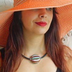 "VENEZIA art to wear modern chic statement necklace: handmade blown pink rainbow ""battuto"" cut modern murano glass on luxurious murano tubino. Made in Italy Fashion Colours, Glass Necklace, Murano Glass, Glass Pendants, Rainbow, Italy, Elegant, Luxury, Chic"