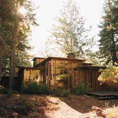The 1,850-square-foot house sits on just shy of two acres in the woods. The 12-foot-glass windows in the living room offer a view of Mount Tamalpais.