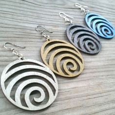 WAVE laser-cut wood earrings Green Tree Jewelry modern-spiral CHOOSE COLOR 1054 #GreenTreeJewelry #lasercut