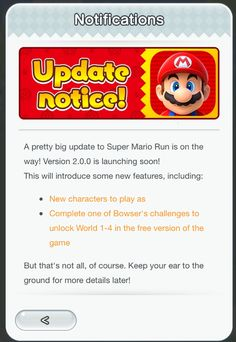 Super Mario Run - Version 2.0 to include new characters another free unlock & more   No word on what characters to expect or the other kind of content the update will bring but we don't have to wait too long to find out!  from GoNintendo Video Games
