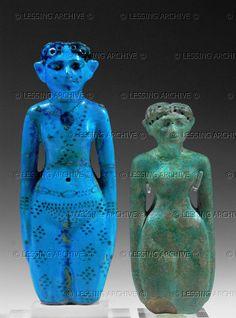 EGYPT FIGURINE 2ND-1ST MILL.BCE Two female figurines, New Kingdom (1554-1080 BCE) Faience, 13,8 and 12,2 cm Inv. E 11263, E 10942 Louvre, Departement des Antiquites Egyptiennes, Paris, France